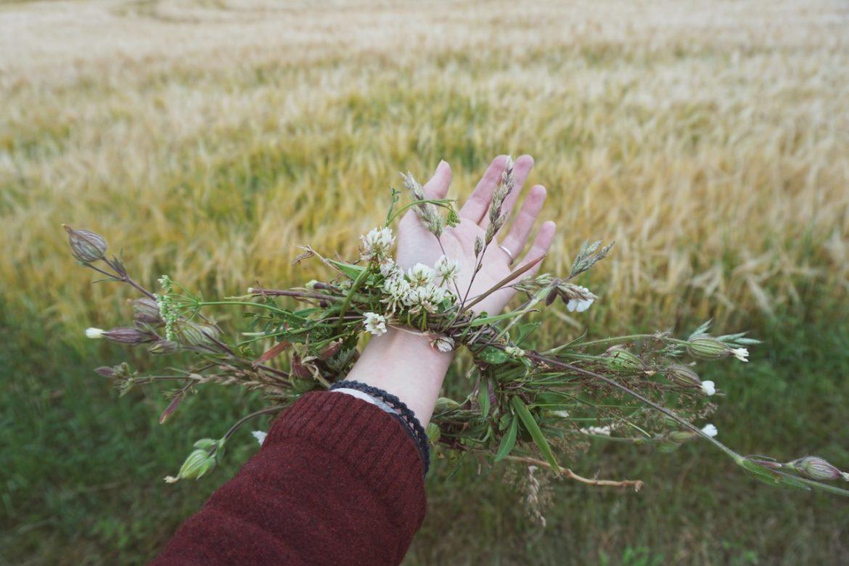 polny wianek na dłoni